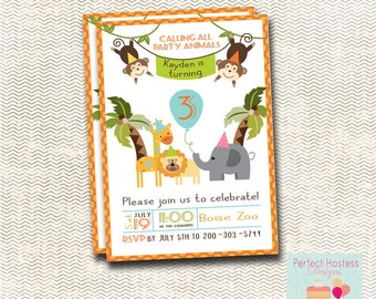 Zoo Theme Birthday Invitation