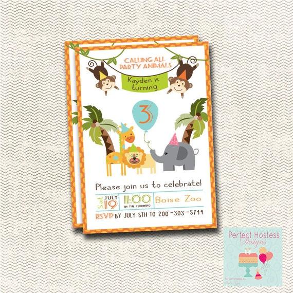 Items Similar To Zoo Theme Birthday Invitation On Etsy