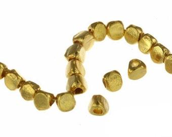Gold vermeil Plain Prism Spacer, 3 mm - Karen Hill tribe silver