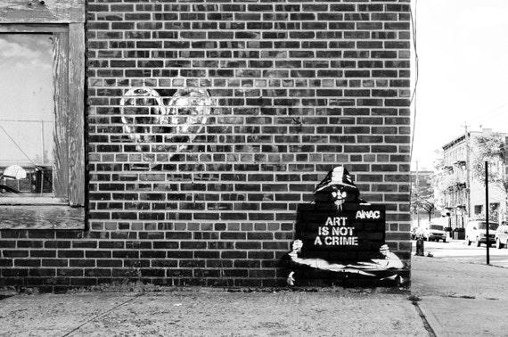 Street Wall Art Black And White : Nyc photography street art black white fine print
