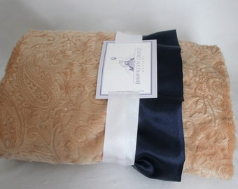 Solid Embossed Paisley in Camel and finished wth a Navy Ruffle Trim Minky Baby Blanket -  Baby