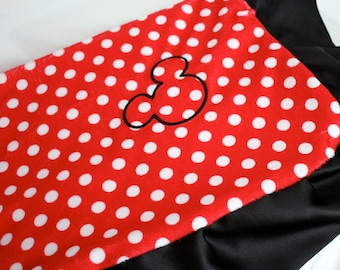 Disney Mickey Mouse Inspired Minky Blanket, Polka Dots, Red, White, Black, Minnie Mouse, Baby Blanket, Personalize, Embroider