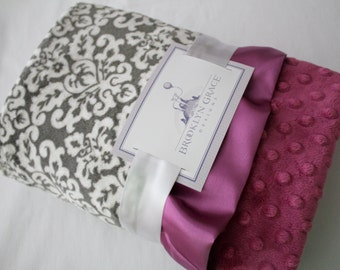 Gray Damask Minky with Orchid Dimple Dot MInky - Baby Blanket, Finished with an Orchid Satin Trim - Baby Girl, Crib Bedding, Nursery