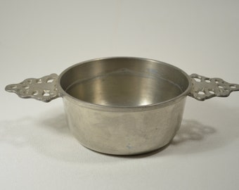 Vintage Colonial Pewter Porringer Bowl with Two Handles