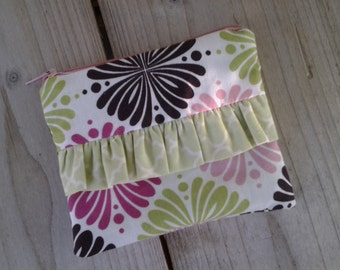 zipper pouch with ruffle