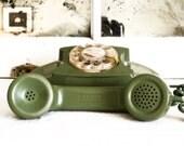 Avacado Green Princess Phone, Retro Mid Century Princess Desk Rotary Dial Telephone, Interior Design Prop, Mid Century Mad Men Home Decor