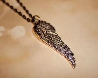 Gunmetal Angel Wing Necklace