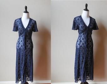 Vintage Navy BLUE LACE DRESS sheer lace dress flutter sleeve womens xs