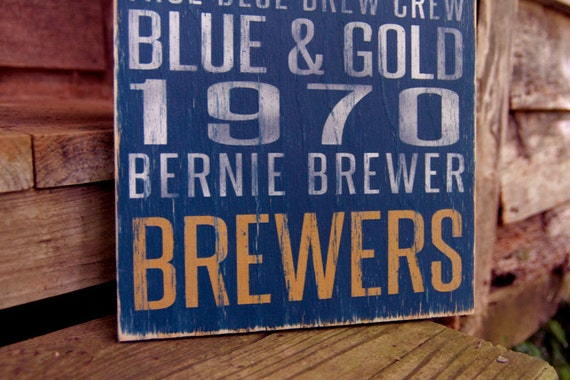 Milwaukee Brewers Distressed Wood Sign