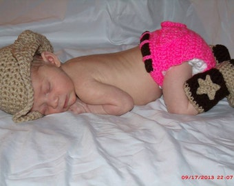 Crocheted Newborn Cowboy & Cowgirl Outfits