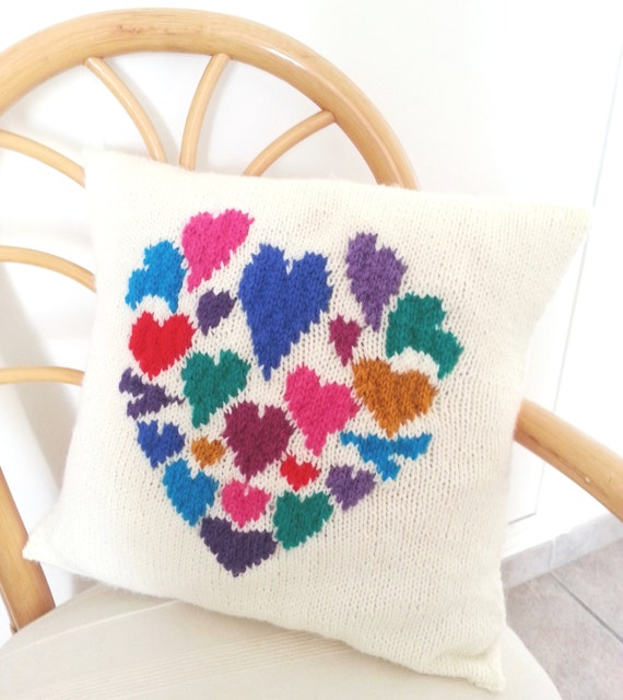Knitting Pattern Heart Cushion : Heart Pillow Knitting Pattern Hearts Cushion Knitting