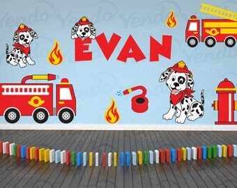 Firetruck Wall Decal for Baby Bedroom - Wall Decal for Boy Nursery - Premium Quality Repositionable  Decals