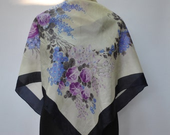 Vintage SILK scarf , hand rolled silk scarf.....