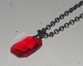 Faceted Rectangle Swarovski Crystals on Gunmetal Chain Necklace