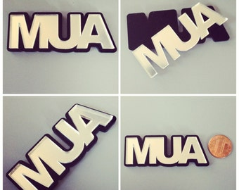 laser cut acrylic MUA nameplate or cabachon (silver mirror)