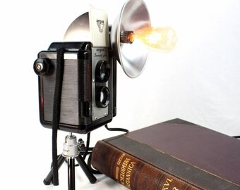 Reading Lamp - Task Lamp  - Argus Argoflex Seventy-Five Camera on mini tripod.