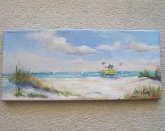 "Oil painting ,sunny beach and sailboats.  Original done plain air 8""x18"""