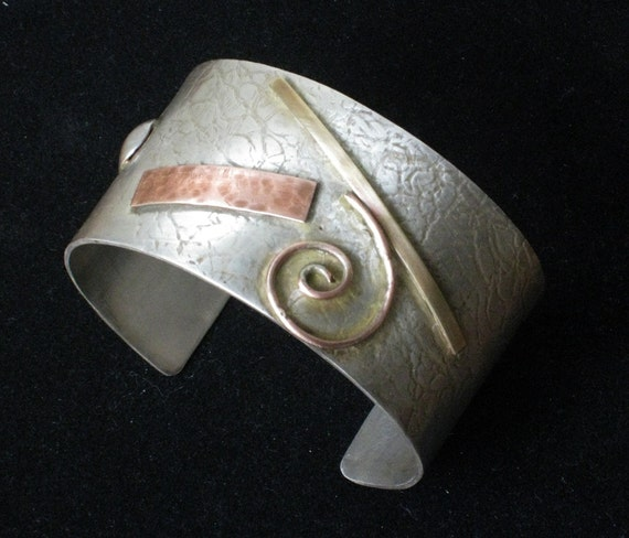 Sterling Silver Cuff with addition - Original Handmade Composition - One of a Kind