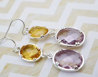 silver yellow and Lilac crystal dangle earrings
