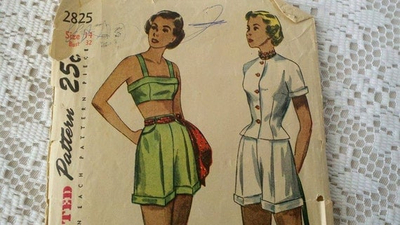 Circa 1940s Simplicity Pattern 2825 Junior Misses and Misses Jacket Bra and Shorts Size 14