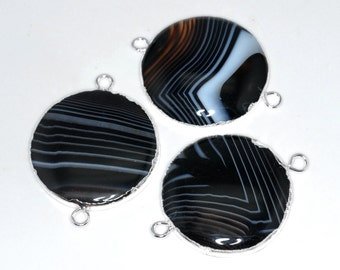1 Piece Natural Black Lace Agate Round 35mm Silver Setting Connectors B102DR2862