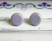 Purple Ceramic Geometric Earrings Stud Lavender Round Pottery Unisex Fashion Jewelry