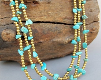 Multi Strand Turquoise Chip Stone Brass Bead Layered Necklace