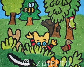 Maki plays hide-and-seek in the forest, wall art, children's art