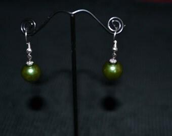 Green Christmas Bauble Earrings