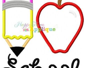 I Heart School Pencil Machine Embroidery Design