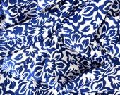 Nylon Spandex tricot. French country monotone print. Indigo blue and white.