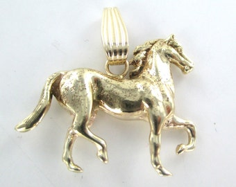 14k yellow solid gold vintage horse pendant