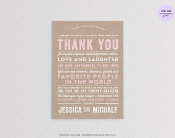 Rustic Typography Wedding Reception Thank You Card - DIY Printable Digital File - Rustic Thank You Place Card
