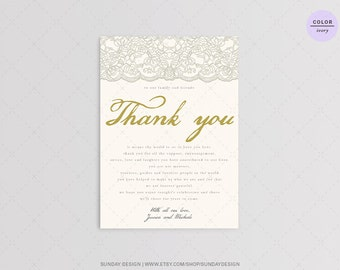 Silver Lace Wedding Reception Thank You Card - DIY Printable Digital File - Rustic Thank You Place Card