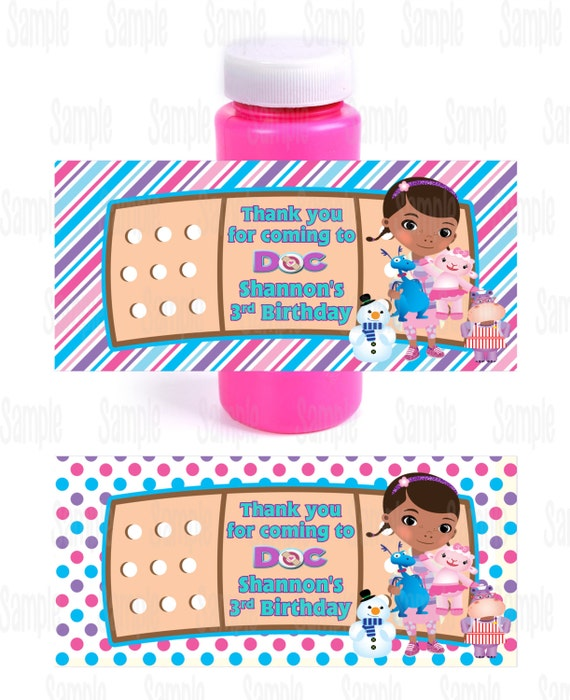 Printable doc mcstuffins bubble bottle labels for Bubble bottle label template