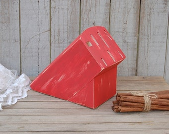 Knife Block, Upcycled, Shabby Chic, Hand Painted, Red, Distressed, Rustic