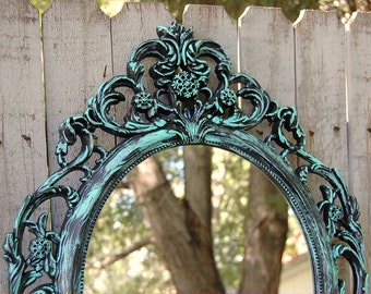 Shabby Chic Mirror, Turquoise, Aqua, Black, Hanging Mirror, Wall Mirror, Ornate, Wedding, Oval, Painted, Baroque Mirror, Hollywood Regency
