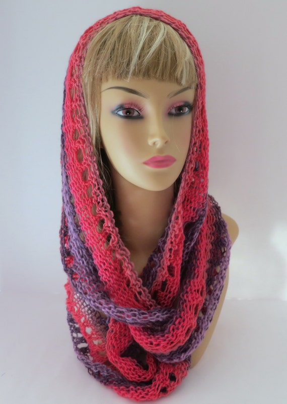 Knitted Head Scarf Pattern : Beginner Pattern PDF 135 Knitting Pattern Grace Elle Infinity scarf, cowl, he...