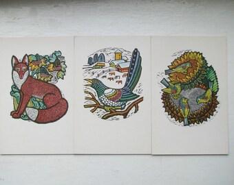Set of 3 Ornamental Vintage Soviet Postcards -Fox, Birds on Sunflower, Magpie - Scrapbooking. Embellishments. Collage. Art. Gift Tags.