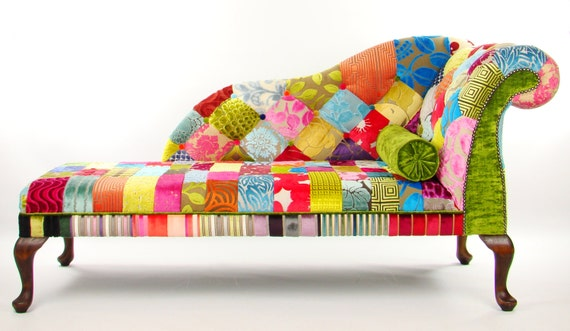 Bespoke patchwork chaise longue designers guild fabric for Bespoke chaise longue