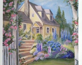 "SUMMER HOUSE""  fine art print of an oil painting"