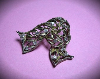 "2"" Wide Rhinestone Knotted Scarf Pin/Brooch"