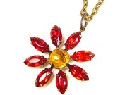 Red Flower Necklace, Vintage Style Cherry Red Necklace, Victorian Inspired Floral Pendant