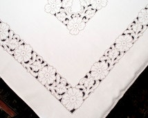 Vintage Print Tablecloth, Mid Century Taupe & Black Floral Print, Large, Modern Design, Graphic Table Cover, 1960's Cloth