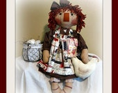Handmade Primitive Farmhouse Annie with her Chicken and Eggs FAAP Team   Layaway Available!