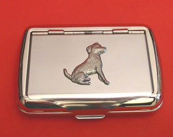 Jack Russell Terrier Chrome Tobacco Tin With Pewter Motif Father Jack Russell Gift