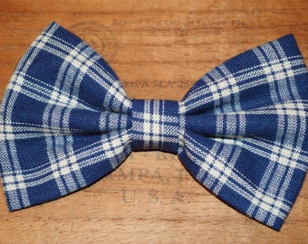 Blue Plaid Flannel Hair Bow, Hair bow for women or teens, girls hair bows, winter plaid hair bow, Fabric hair bow, Designer fabric bow