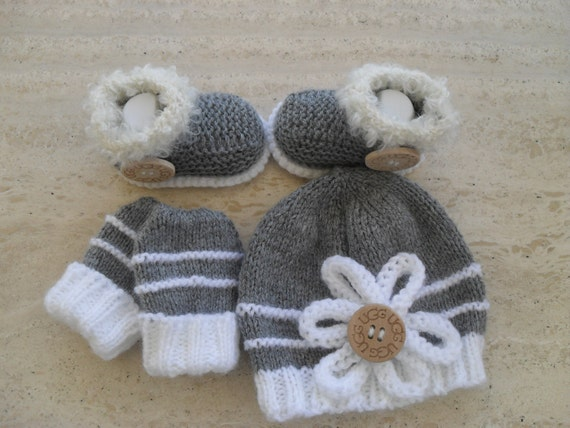 Knitting Patterns For Baby Mittens And Booties : Instant Download Knitting Pattern Baby Hat Booties & Mittens