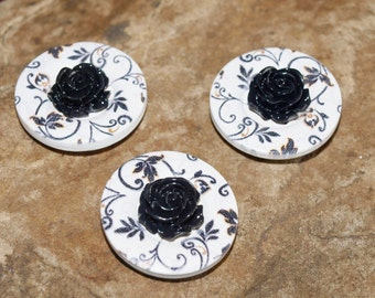 Black and White Magnets. Large Wooden Buttons with Black Rose Centres. Set of 3.