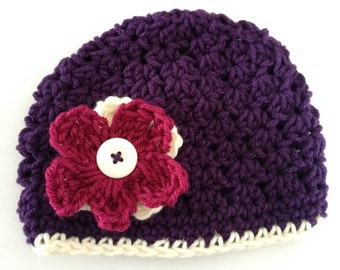 Newborn Girl Crochet Hat with Interchangeable Flowers